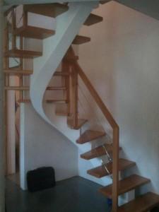 Escalier en limon central débillardé Morbihan 56