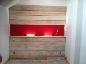 Aménagement Intérieur tête de lit en lambris planche vieillies compris tasseautage Morbihan 56