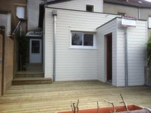 Aménagements extérieur avec terrasse et ossature bois, Morbihan 56