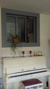 Fabrication verrière bois peint Vue d'Ensemble - côté salon de la verrière lasurée